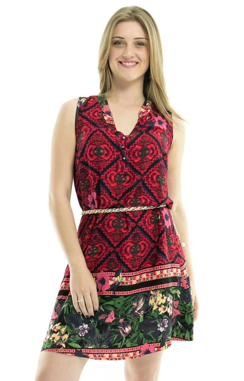 aee42a03fbb2 Vestido Regata Barra Edileni Estampa Floral Vermelho - Malharia Eliani