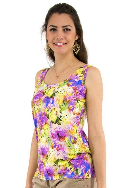 Regata Suplex Estampa Floral Rosa
