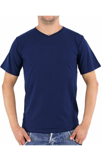 Camiseta Manga Curta Malha Lisa Azul Marinho