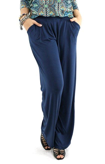 Calça Pantalona Viscolycra Lisa Azul Marinho