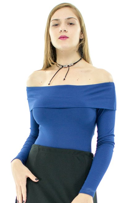 Body Canelado Manga Longa Liso Azul Marinho