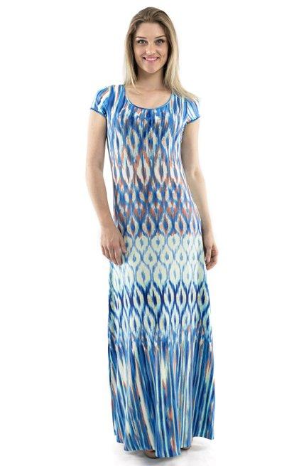 Vestido Marcia Viscolycra Estampa Abstrata Azul