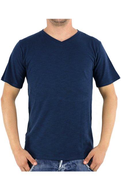 Camiseta Manga Curta Malha Flamê Lisa Azul Marinho
