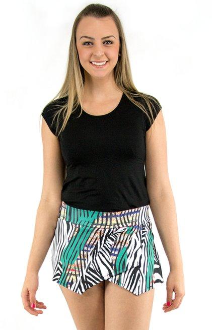 Shorts Saia Neoprene Estampa Zebra Colorida