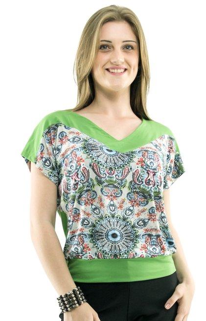 Blusa Manga Curta Sonia Viscolycra Estampa Floral Verde