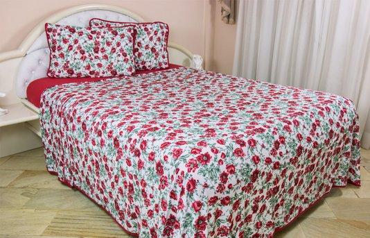 Jogo de cama malha casal 4pcs Estampa Floral vermelha