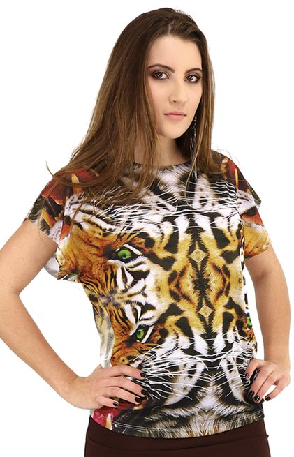 Blusa Stefany Manga Curta Digitalprint Tigrado