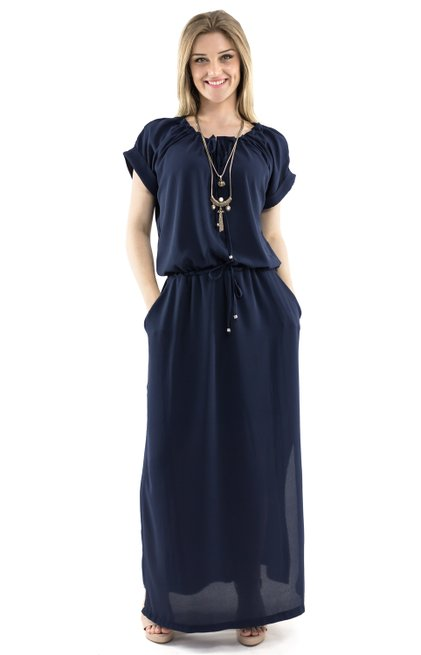 Vestido Longo Manga Curta Ludmila Crepe Liso Azul Marinho