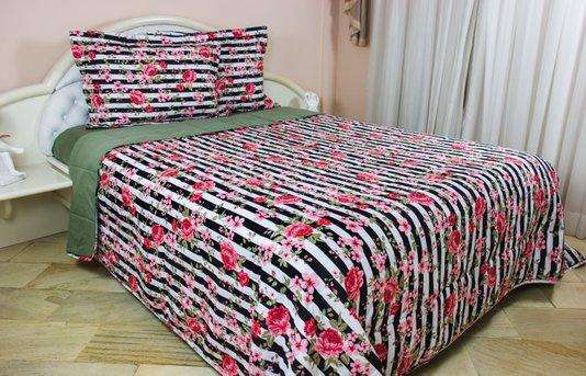 Colcha Malha Casal Queen 240X250 Estampa Listras Floral