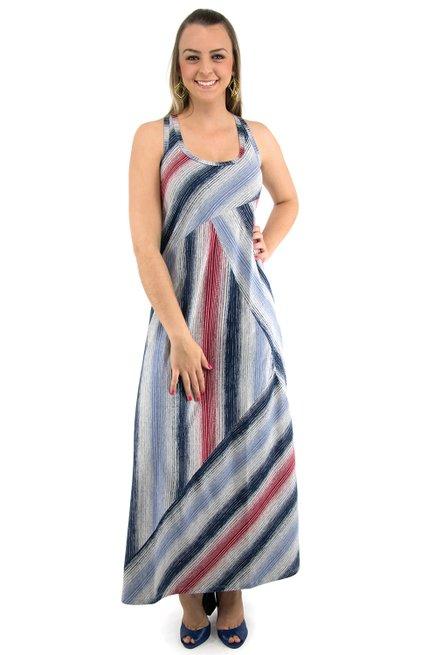 Vestido Tuca Viscolycra Estampa Azul Listras