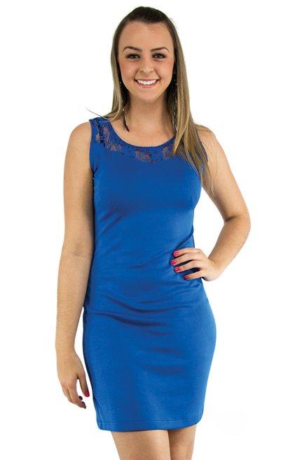 Vestido Neoprene Renda Liso Azul