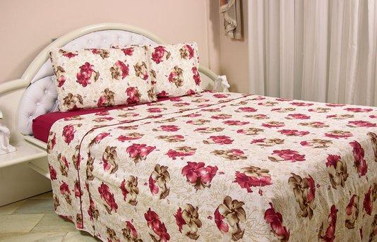 Jogo de cama malha casal Queen 4pcs Estampa Hibiscus
