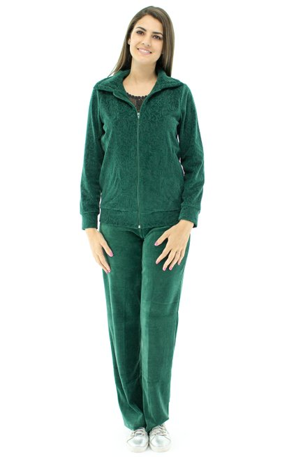 Conjunto Jaqueta Plush Estampa Floral Verde
