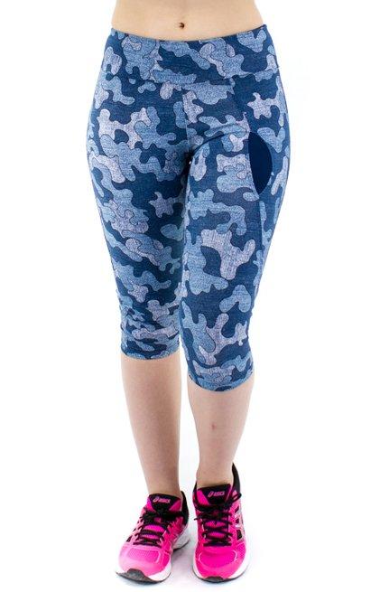 Calça Corsário Fitness Bolso Estampa Geométrica Jeans
