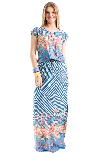 Vestido Longo Manga Curta Catarina Estampa Floral Azul