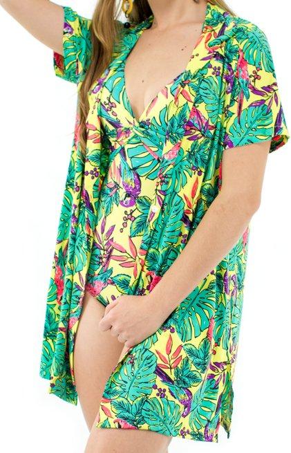 Camisão Manga Curta Estampa Floral