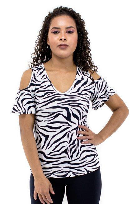 Blusa Manga Curta Viscolycra Estampa Zebra