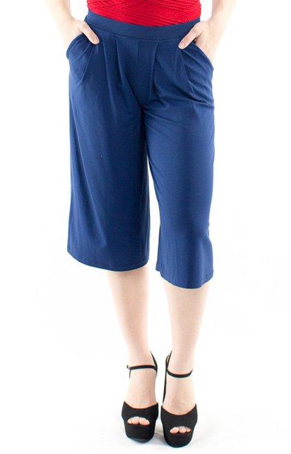 Calça Pantacourt Viscolycra Lisa Azul Marinho