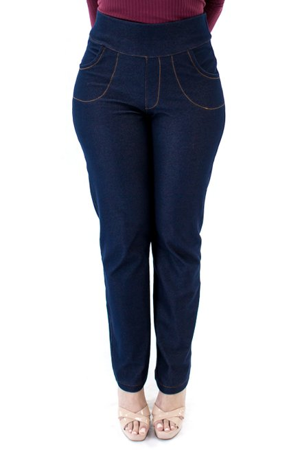 Calça Jeans Pesponto Lisa Azul