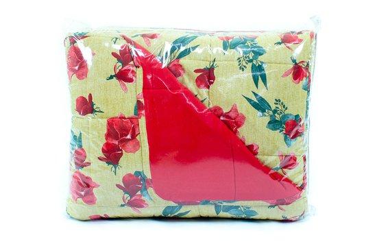 Colcha Malha Casal Queen 2,40mx2,50mEstampa Floral Caramelo e Vermelho