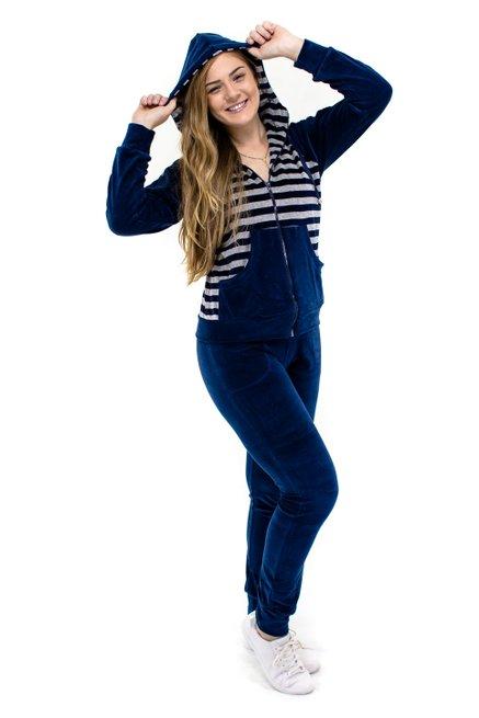 Conjunto Jaqueta Plush Capuz Estampa Listras Azul Marinho