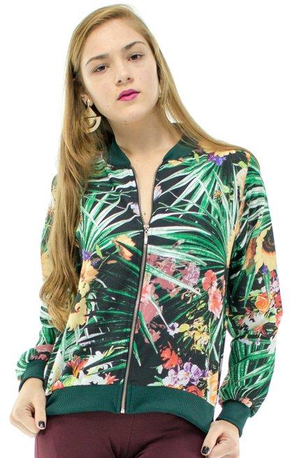 Jaqueta Bomber Crepe Estampada Floral