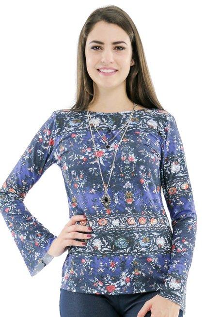 Blusa Manga Longa Meia Túnica Catarina Estampa Floral Azul