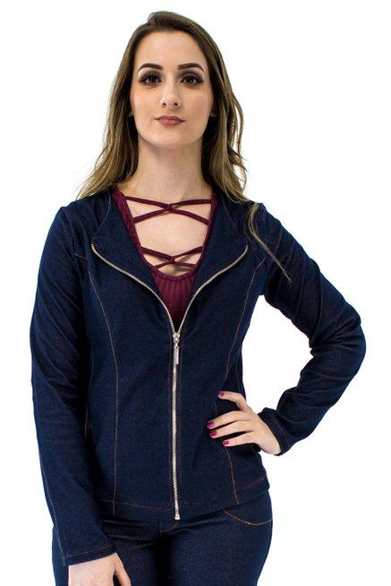 Jaqueta Jeans Pesponto Lisa Azul
