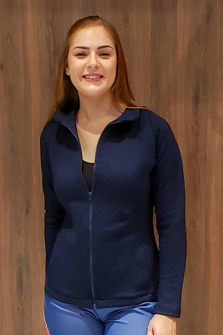 Jaqueta Matelassê Lisa Azul Marinho