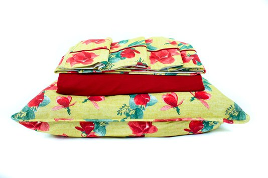 Jogo de Cama Malha Casal Queen 4pcs Estampa Floral Caramelo e Vermelho