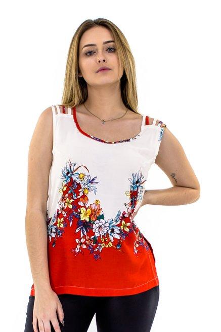 Regata Viscose Viés Estampa Floral Vermelha e Branca