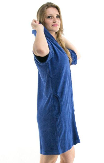 Saída de Banho Roupão Sofia Liso Azul Capuz