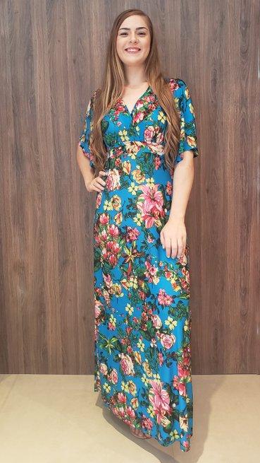 VestidoLongo CaftaManga Curta Jersey Estampa Floral Azul
