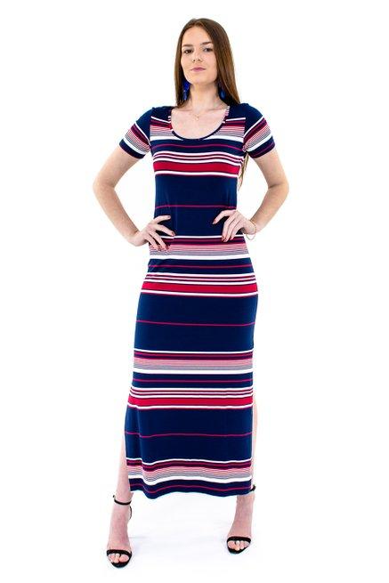 Vestido Longo Listra Manga Curta Estampa Listras Azul Marinho e Vermelho