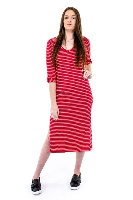 Vestido Longuete Viscolycra Estampa Listras Vermelho e Branco