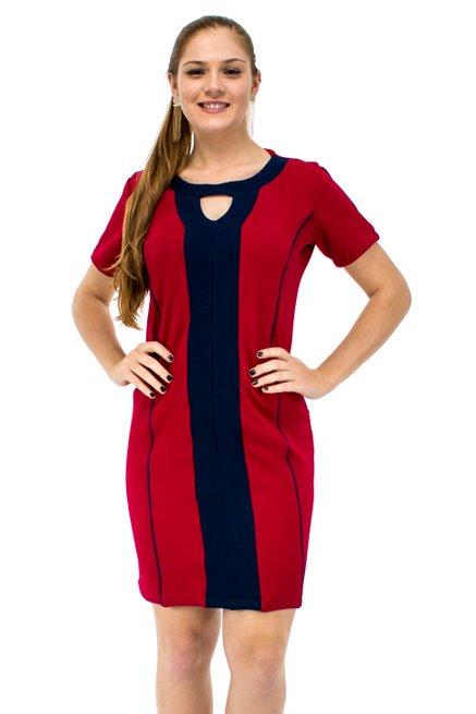 Vestido Maju Manga Curta Liso Vermelho