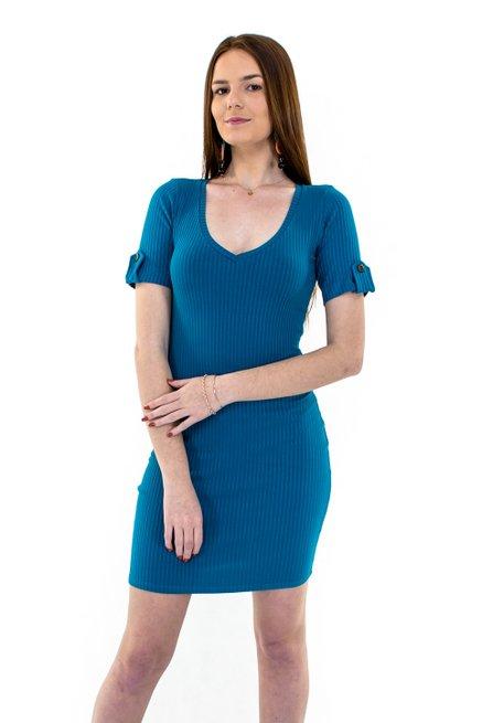 Vestido Manga Curta CaneladoMidi Liso Azul