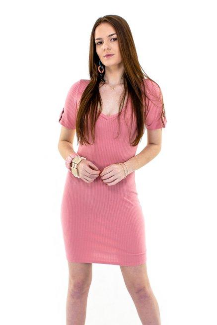Vestido Manga Curta CaneladoMidi Liso Rosa
