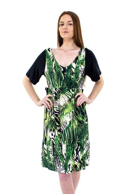 Vestido Manga Curta Viscolycra Estampa Abstrata Verde