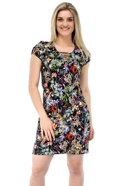 Vestido NeopremeManga Curta Estampa Floral Preto