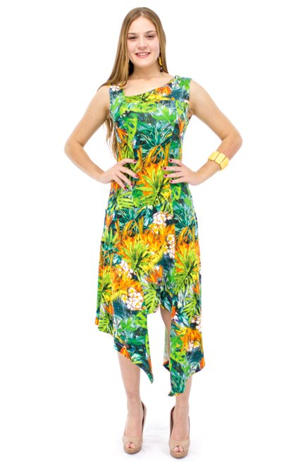 Vestido Regata Longuete Viscolycra Estampa Tropical