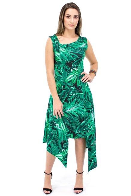 Vestido Regata LongueteViscolycra Estampa Tropical Black