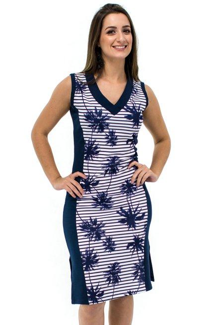 VestidoRegata Raissa Estampa Coqueiros Azul Marinho