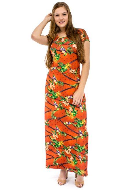 Vestido Short LongoViscolycra Estampa Tropical Laranja