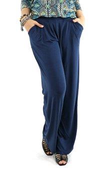 2548e5644 Calça Pantalona Viscolycra Lisa Azul Marinho