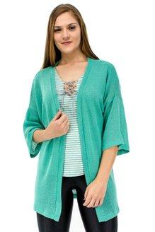 Kimono Bloucle VerãoManga 7/8 Liso Verde
