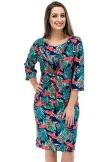 77b2b9a0e Vestido Manga Curta com Casaco Estampa Floral Azul e Laranja