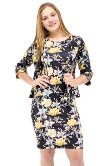 683e7b34b0 Vestido Manga Curta com Casaco Estampa Floral Preto e Amarelo