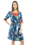 Vestido Manga 3/4 Clara Estampa Floral Azul