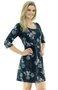 Vestido Denise Manga 3/4 Estampa Floral Azul Marinho